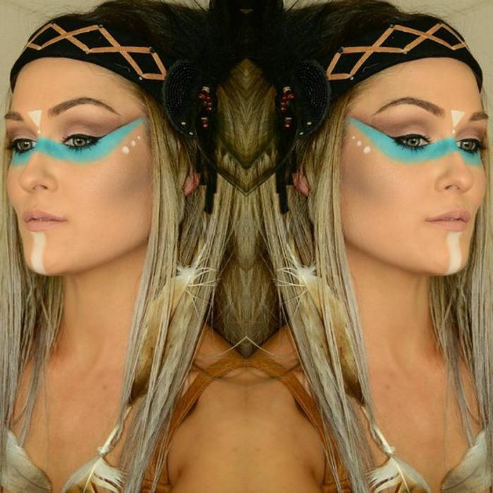maquillage indien, joli maquillage et raie bleue peinte avec du bleu