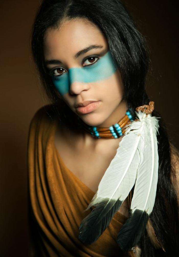 Maquillage indien adulte interesting dguisement adulte homme et femme carnaval halloween - Plume dans les cheveux ...