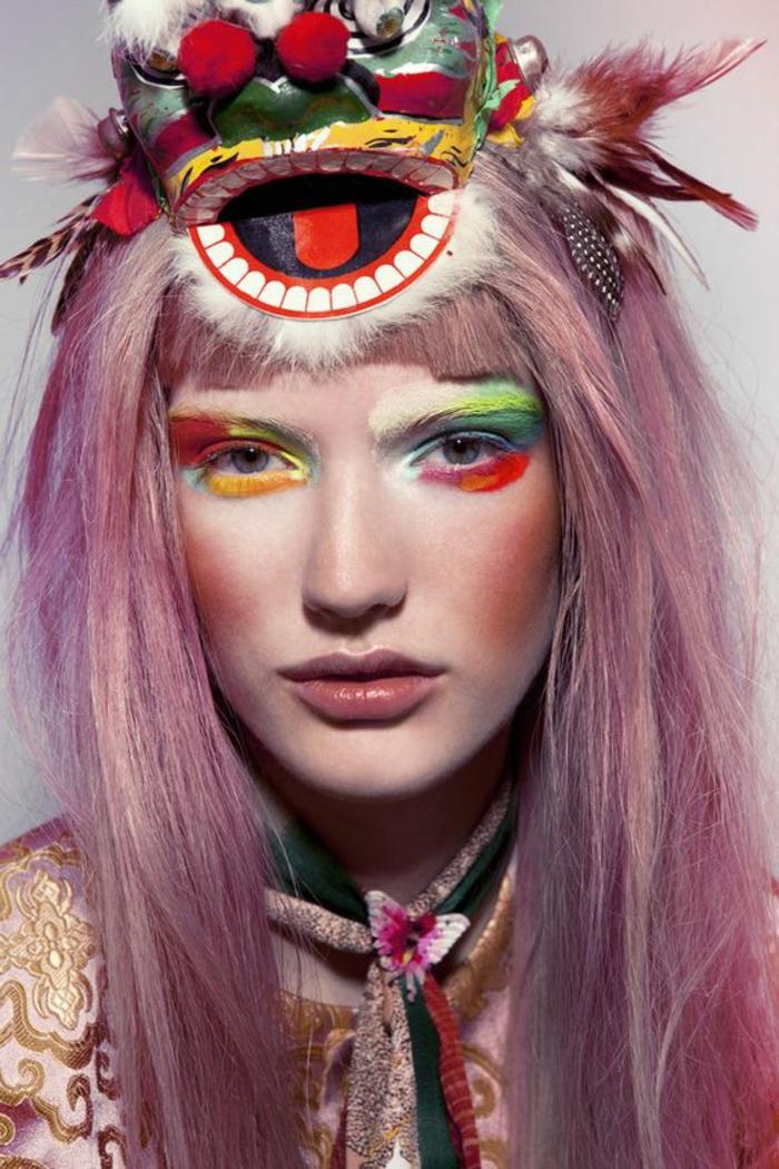 maquillage indienne, yeux maquillés avec plusieurs couleurs vifs