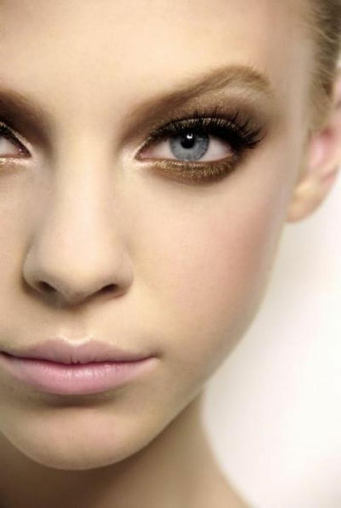 maquillage nude, lèvres roses, pommettes contourés