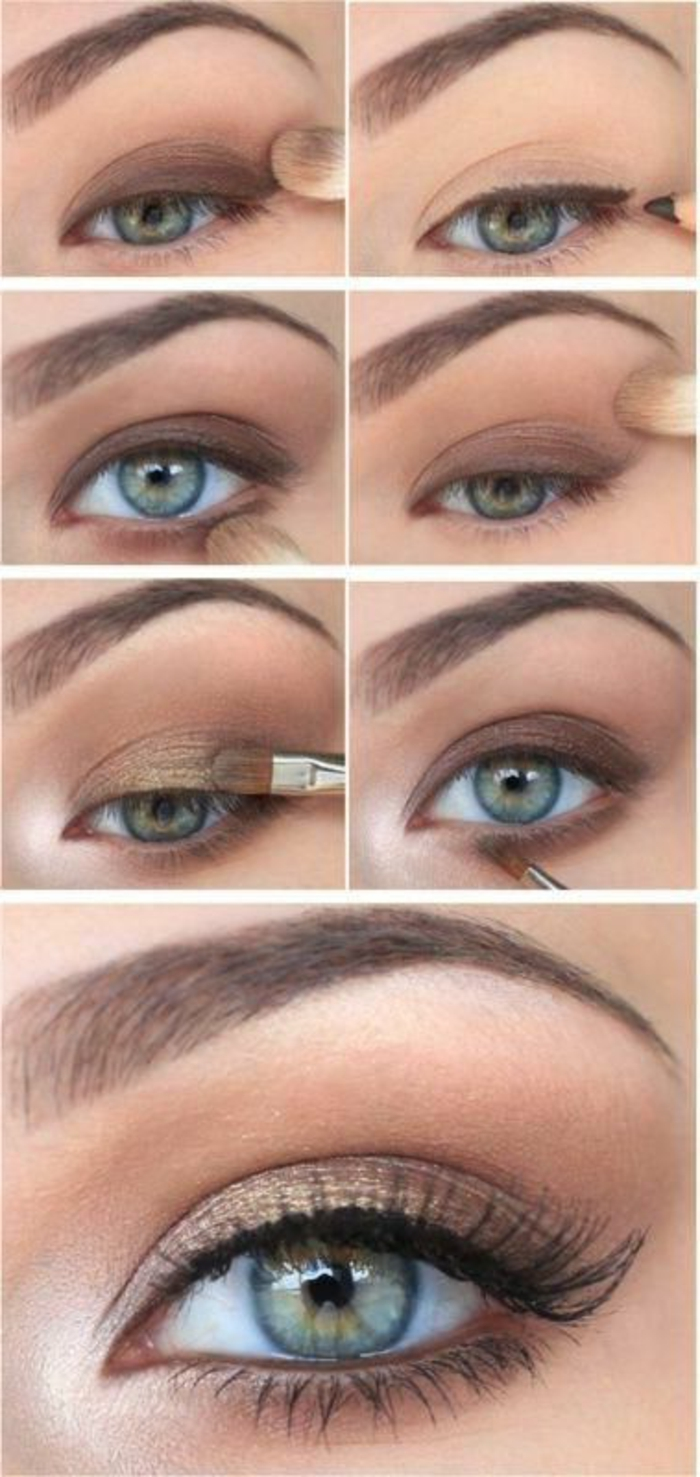 maquillage nude, smokey eye nude