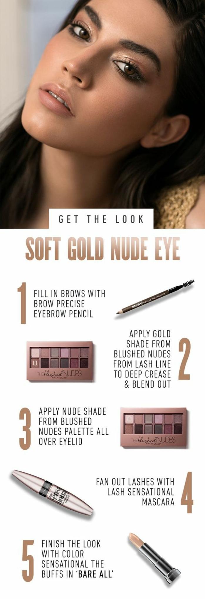 un maquillage discret et dorée pour un look de soirée glamour