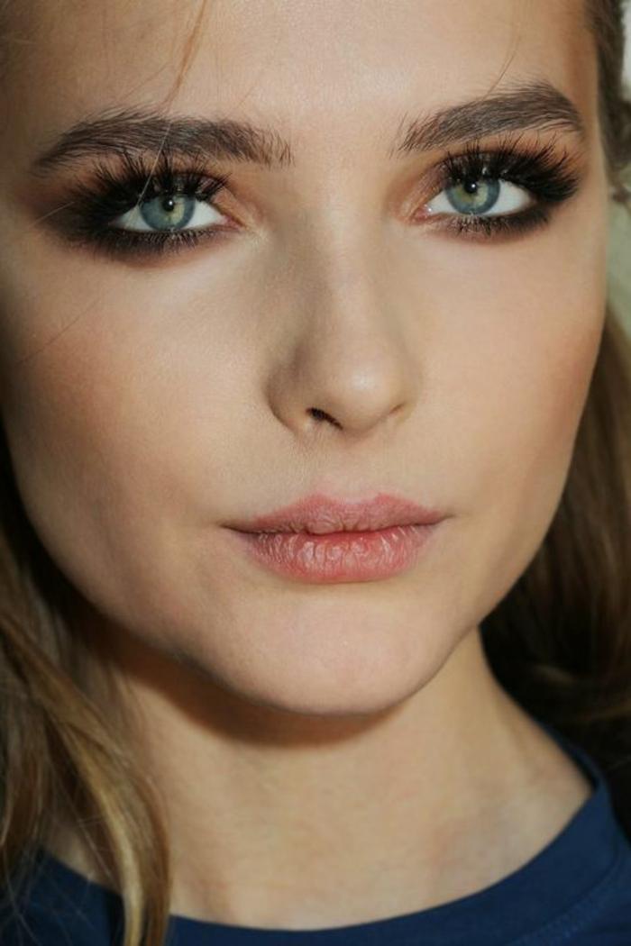 maquillage yeux naturel, visage maquillé façon nude