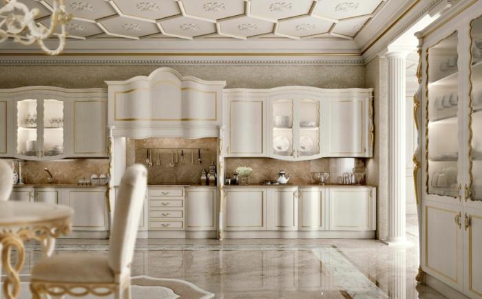 meubles de charme, décoration baroque, plancher en marbre, dosseret en marbre