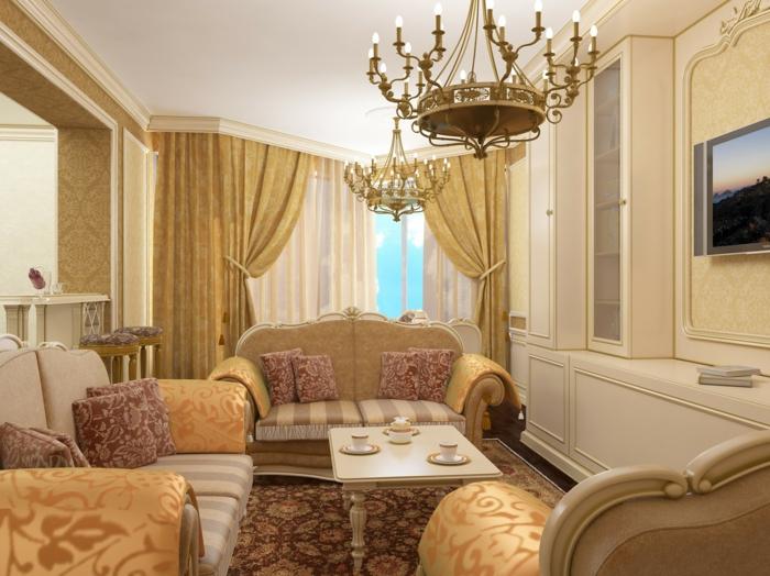 rideau baroque, coussins à motifs floraux, salon baroque, meubles de charme, lustre à bougies