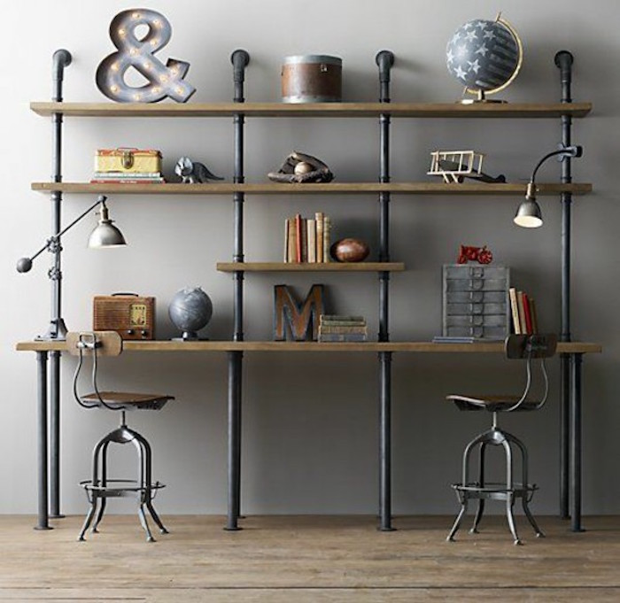 1001 id es meuble industriel une retraite d corative for Deco etagere murale salon