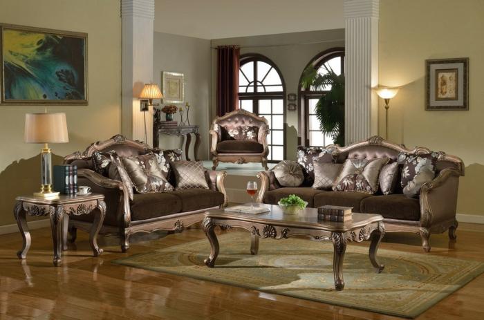 décoration baroque, table basse, peinture à cadre doré, salon baroque, meubles de charme, rideaux longs rouges