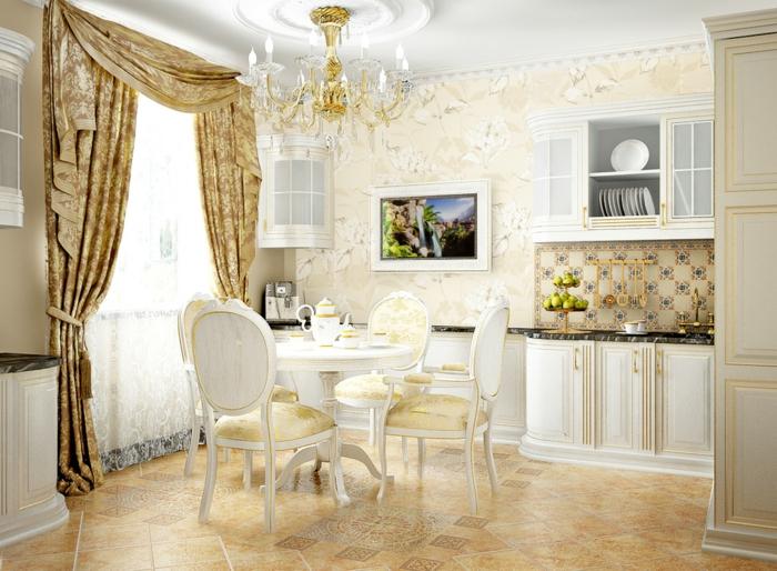 décoration baroque, meubles de charme, papier peint à motifs floraux, rideaux longs