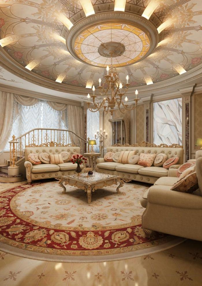 deco baroque, plafond avec décoration en or, tapis rond, plancher en marbre