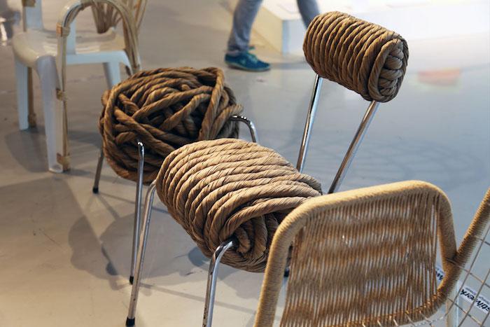 chaise industrielle design en cordes et métal