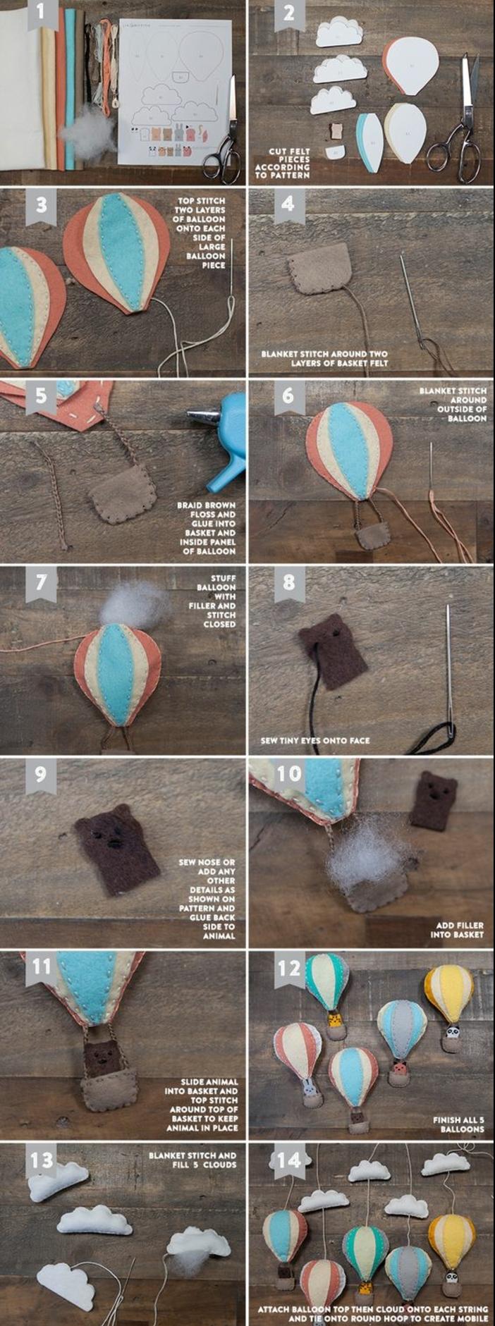 tuto facile pour réaliser un mobile bébé montgolfière en feutrine