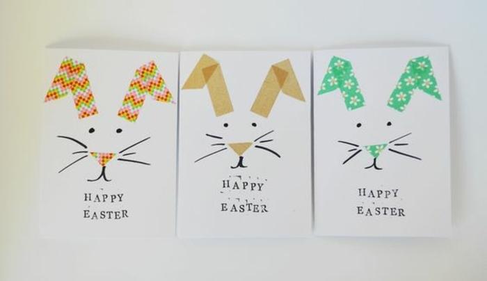 carte de paques facile à faire, motif lapin de paques, carte double blanche, oreilles en bandes de masking tape, museau, moustaches dessinés