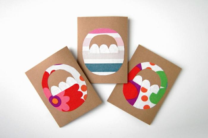 motif panier de paques en tissu multicolore, gabarit sur du papier kraft, idée de carte joyeuses paques à faire soi meme