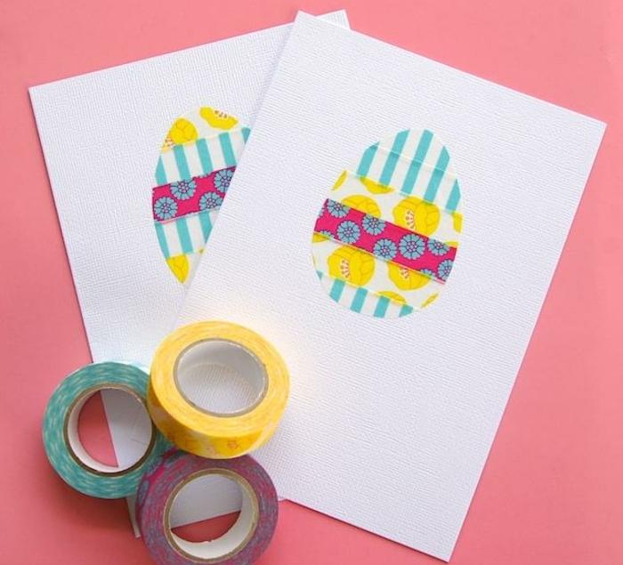 oeuf de paques en bandes de masking tape, rayures et motifs floraux, sur papier carte blanc, carte joyeuses paques DIY