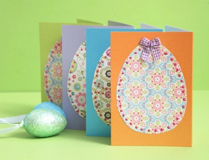 oeuf de paques, motifs floraux shabby chic, petit ruban, idée carte de paques originale, papier multicolore, carte
