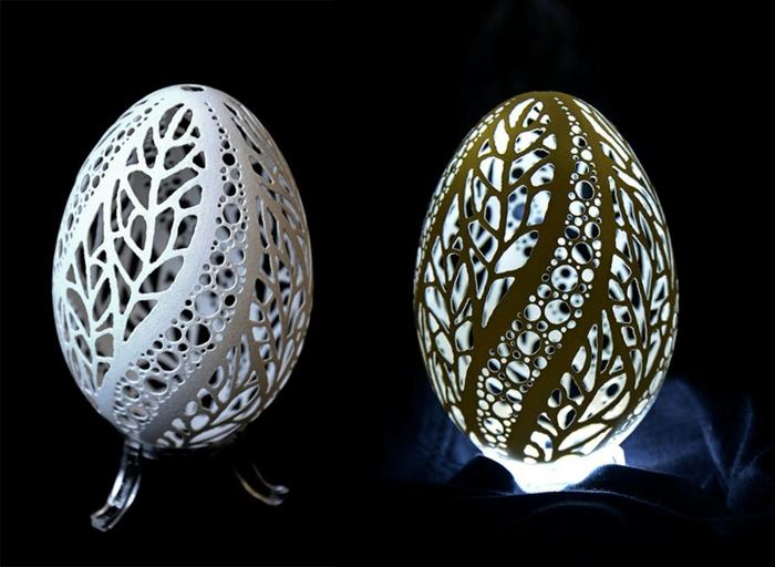 idée comment réaliser une sculpture sur oeuf, motifs floraux, idée artistique comment customiser une coquille oeuf