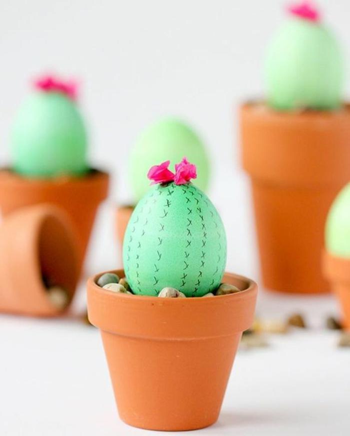 Admirable idée oeuf de pâques à colorier pot avec cactus d'oeuf