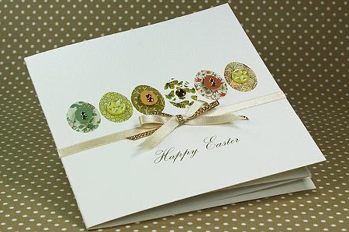 oeufs de paques, motifs floraux multicolores, bouton ruban élégant, idée de bricolage de paques à réaliser soi meme