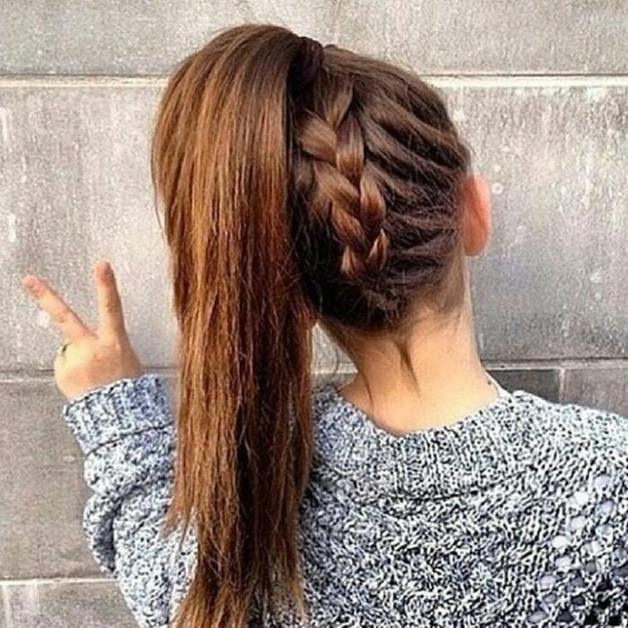 Voir comment faire une coiffure bohème tuto queue de cheval avec tresse