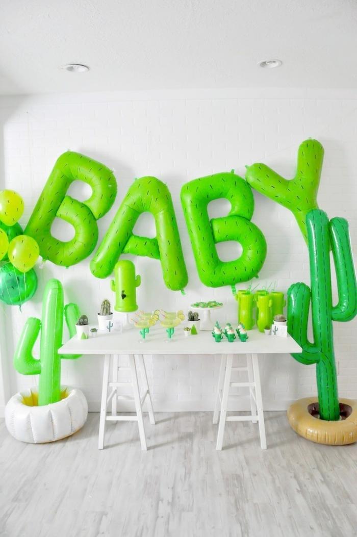 une baby shower sur thème cactus, idées de déco pour une baby shower fille ou garçon