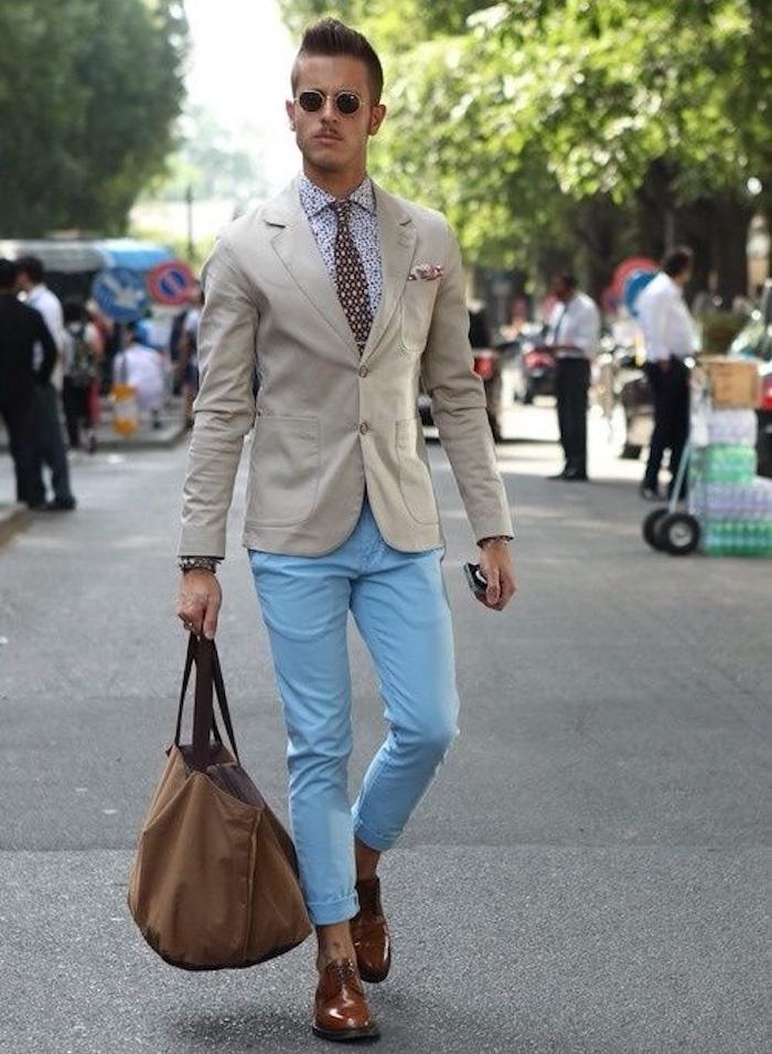 pantalon bleu clair skinny chino homme