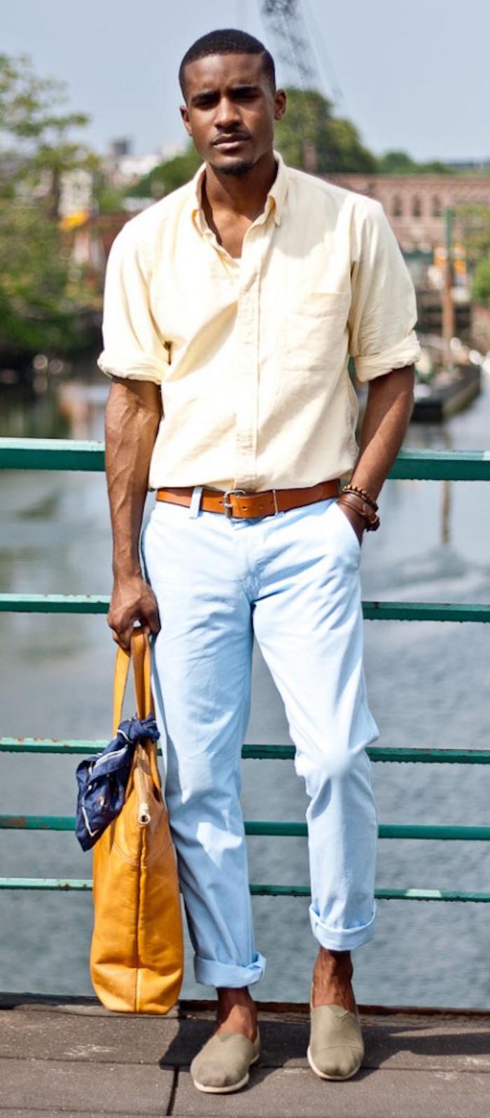 pantalon bleu clair slim homme chinos h&m