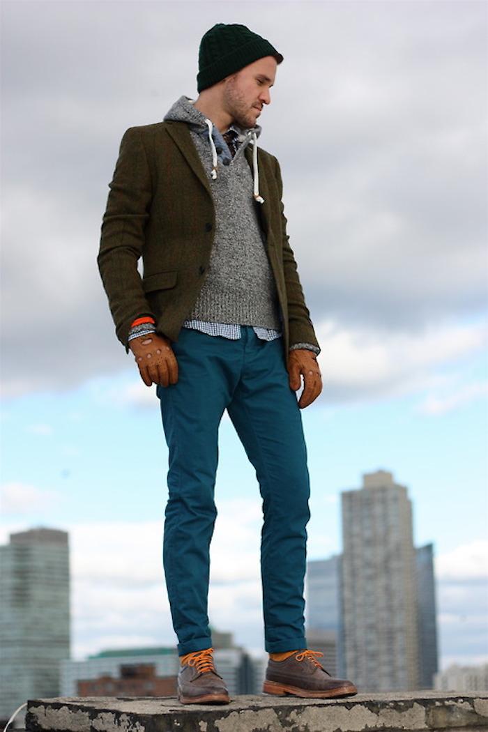 pantalon slim homme skinny chino bleu petrole