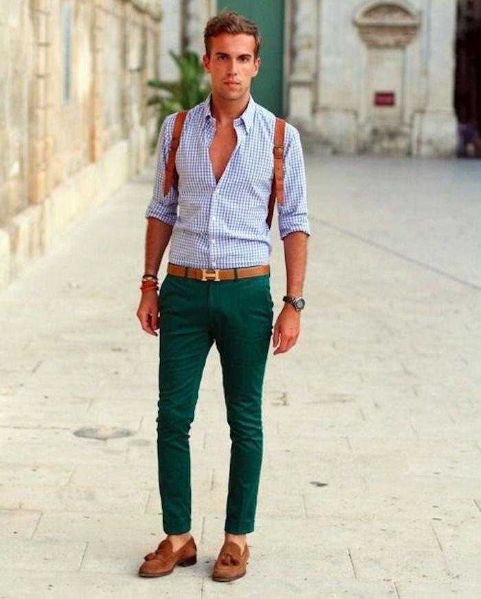 pantalon skinny slim vert foncé chino homme