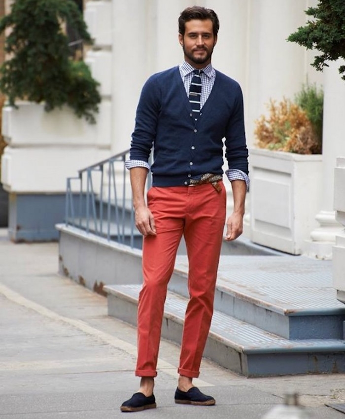 chinos pantalon rouge homme clair slim coupe a pince