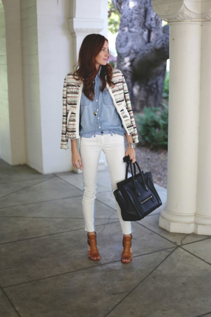 Tenue printemps femme tenue de printemps jean blanc