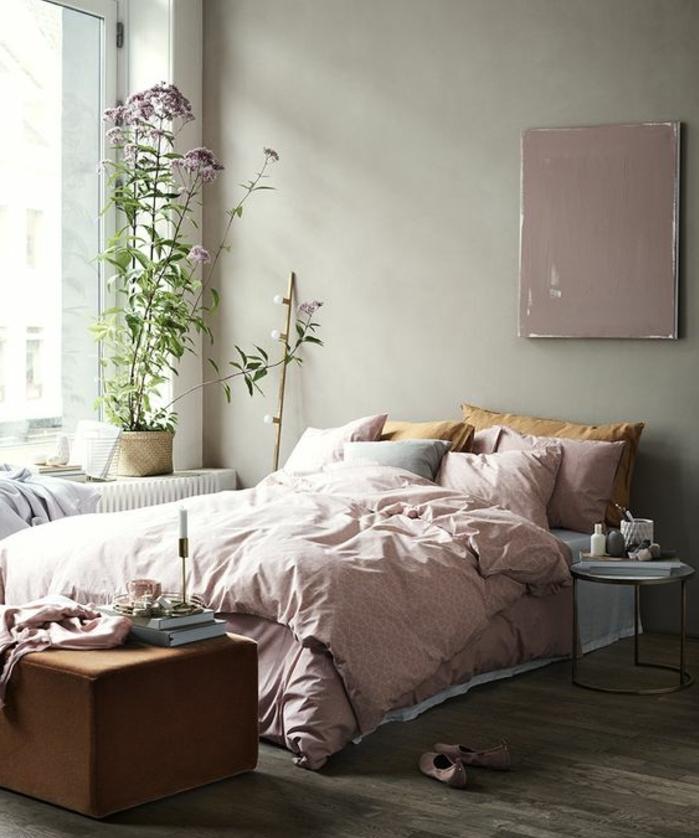 fabulous parure de lit rose oreiller jaune parquet en bois