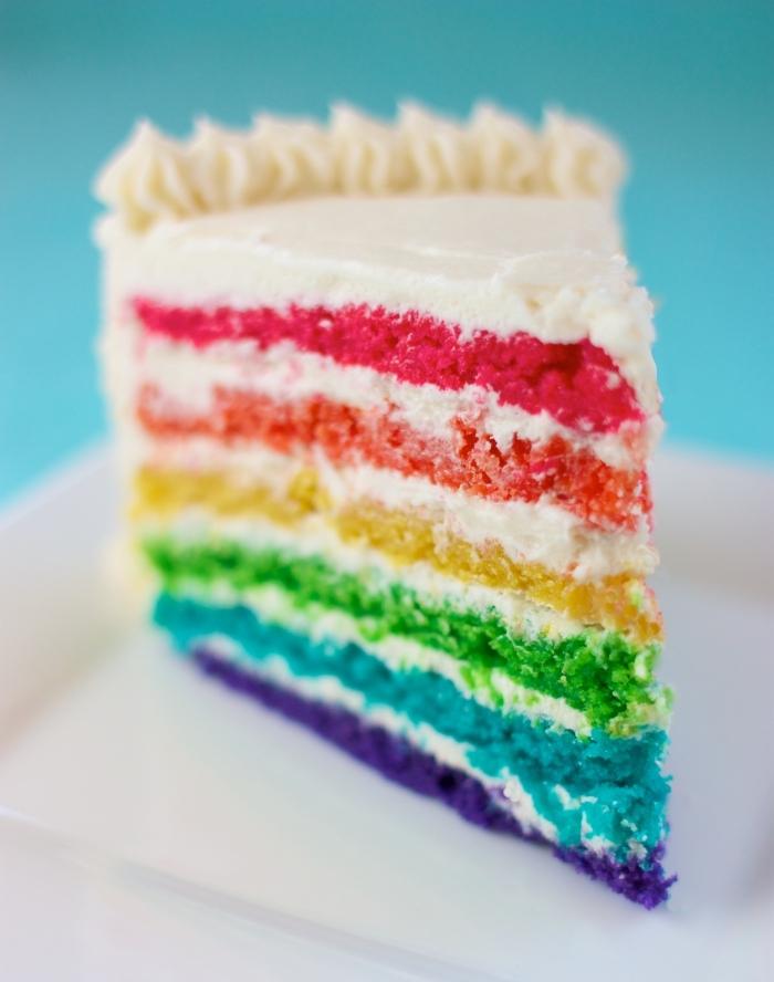 quel gâteau diy pour un anniverssaire d'enfant, exemple de layers cake en couleurs arc en ciel, recette sans oeuf