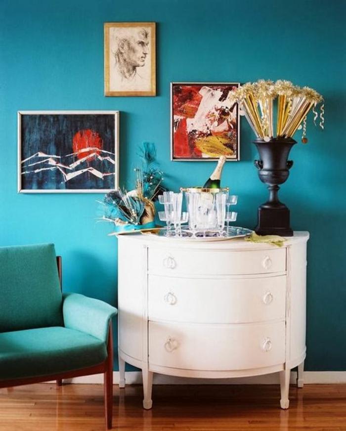 peinture bleu canard, commode console vintage en couleur blanche,