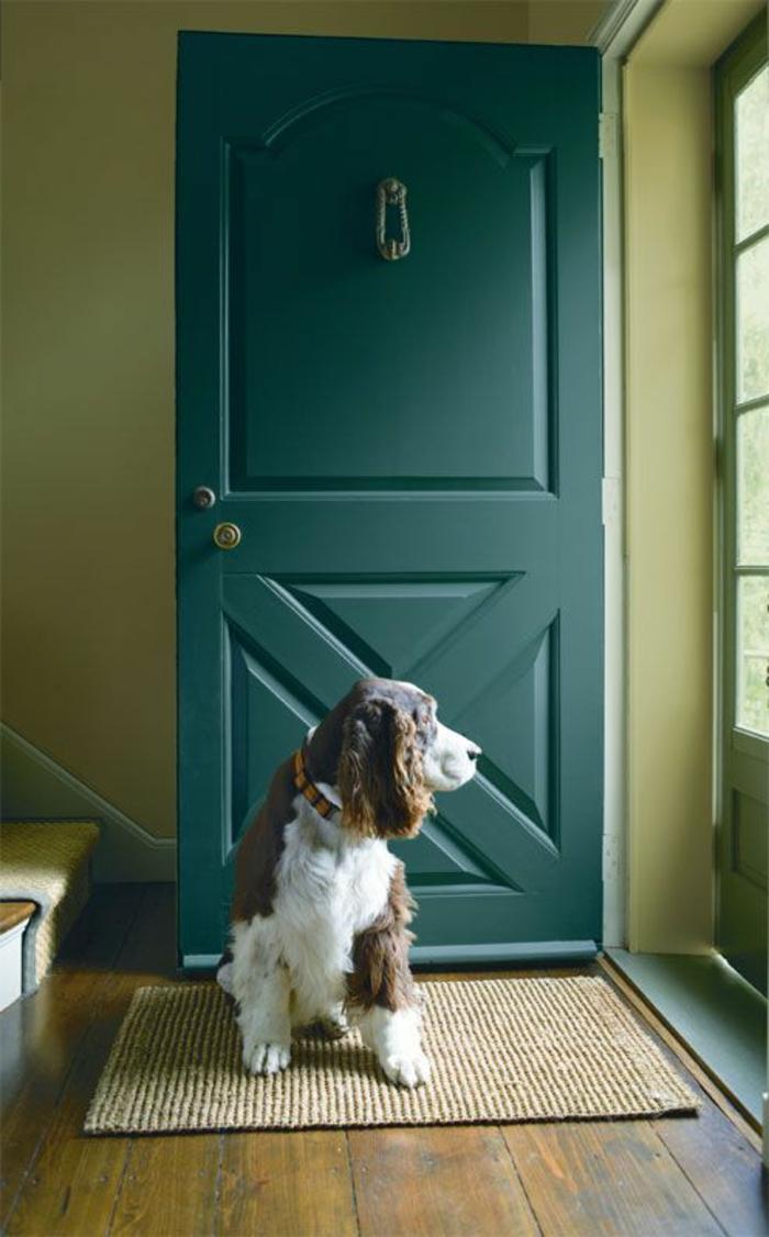 peinture bleu canard, entrée de maison moderne