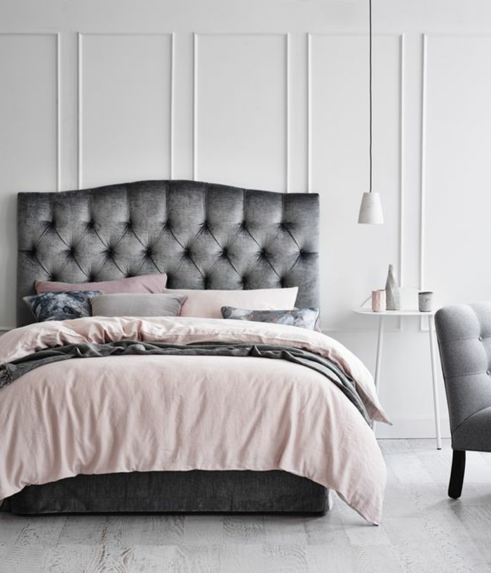 chambre blanc gris rose. Black Bedroom Furniture Sets. Home Design Ideas