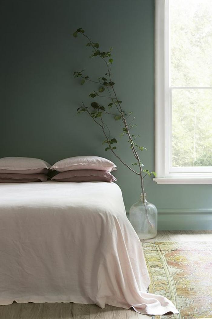 peinture acrylique mur, chambre à coucher sobre et élégante