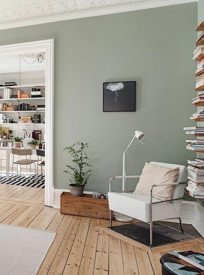 peinture acrylique mur, salon ouvert sur salle à manger, intérieur scandinave