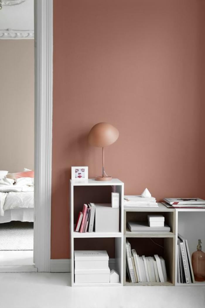 peinture mur salon, étagère basse, mur rose, aménagement simple