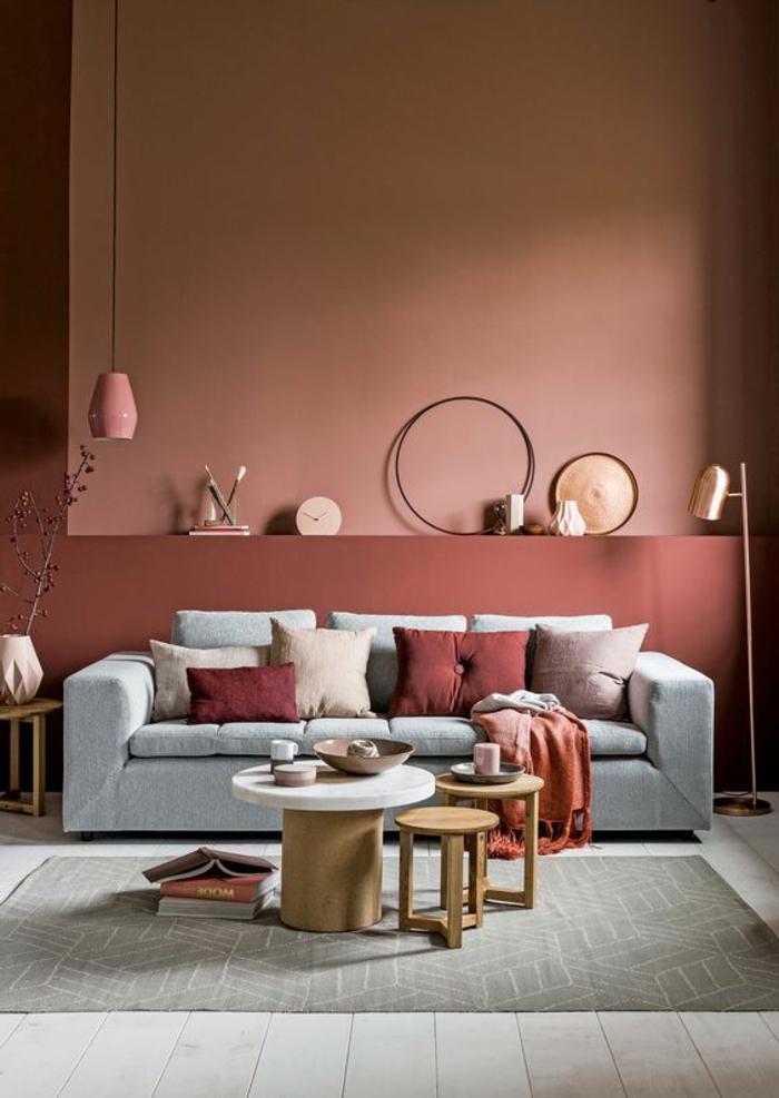 peinture mur salon, gris et rose