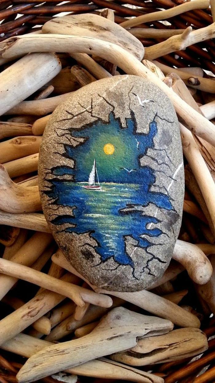 peinture sur galet, bateau dans la mer sous la pleine lune