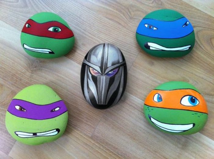 peinture sur galet, les tortues ninjas
