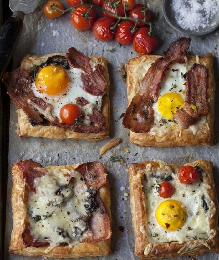idée pour votre petit déjeuner pascal, pâte feuilletée garni d'oeufs, bacon et fromage, menu de paques, brunch