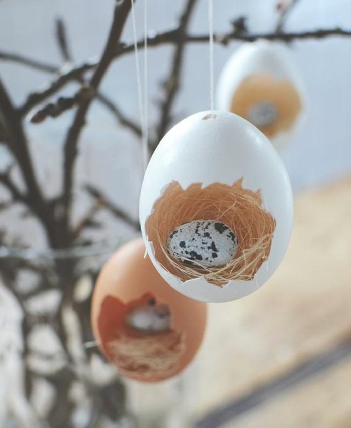 nid d oiseaux miniature fabriqué à partir de coquille d oeuf, paille et petit oeuf dedans, idée decoration, activité manuelle paques