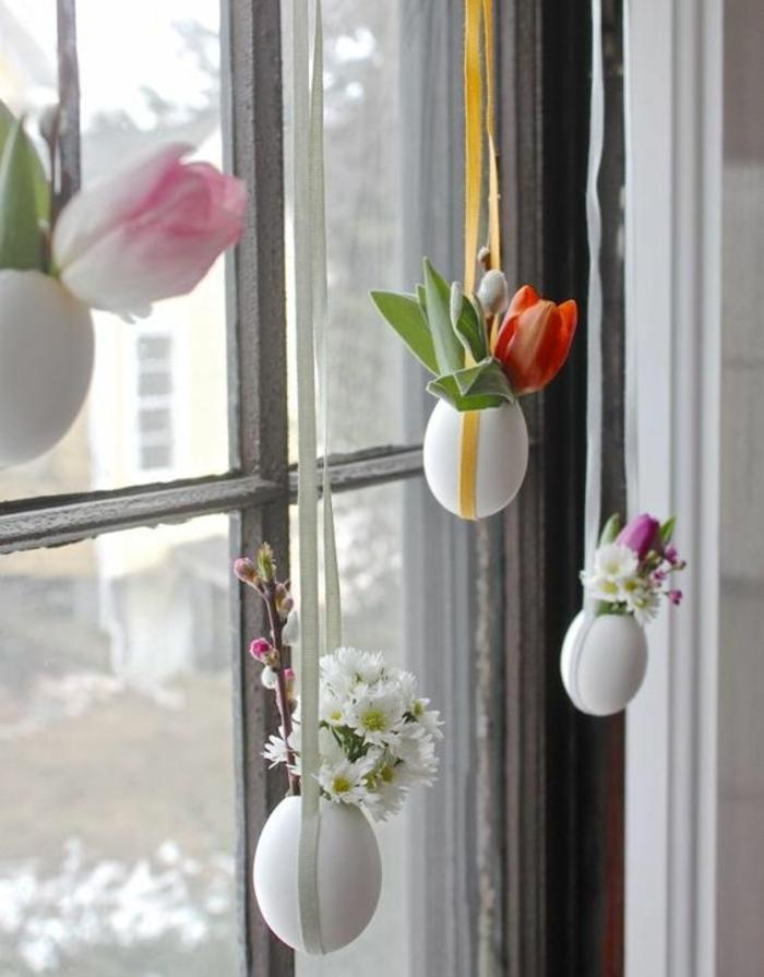 petit vase de coquille d oeuf, contenant des fleurs, idée decorations vases suspendus, activité manuelle paques