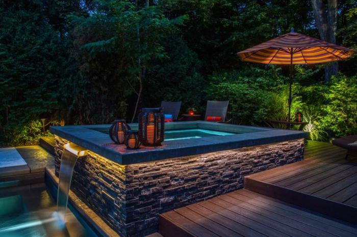 1001 conceptions cr atives pour une piscine sur lev e for Piscine coque hors sol rectangulaire