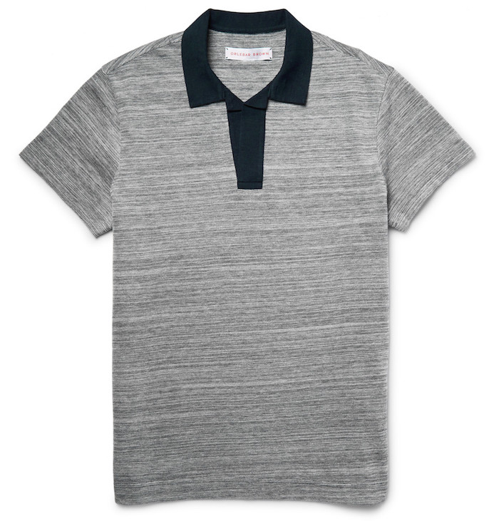 vêtements polo homme simple qualité luxe gris Felix Orelebar Brown