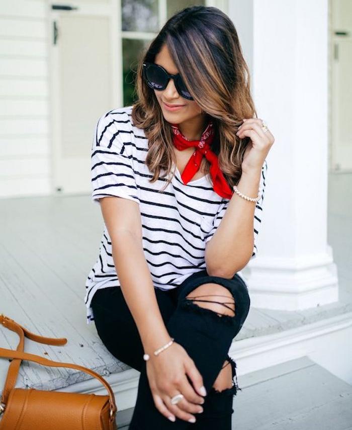 bandana rouge fille avec marinière style