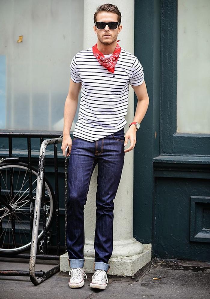 foulaard rouge homme style renaud avec tee shirt marinière