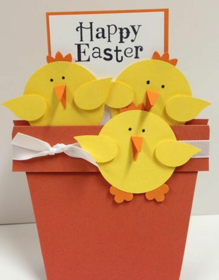 poussins de paques jaunes en papier, bec et pieds orange, pots de fleurs en papier, modèle de carte de paques