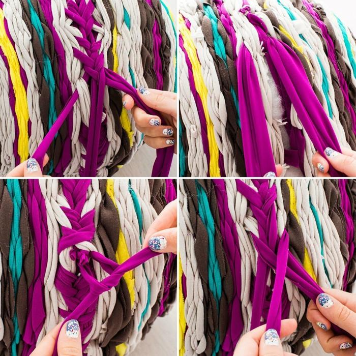 fabriquer un pouf, bandeau violette, faire une tresse, manucure blanc et bleu